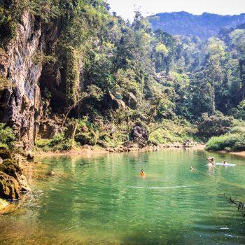 Dong Hoi people Swimming in Tu Lan cave