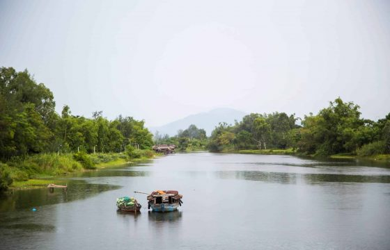 Idyllic boat sailing in Hoi An river