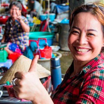 Vietnamese woman at mekong delta market