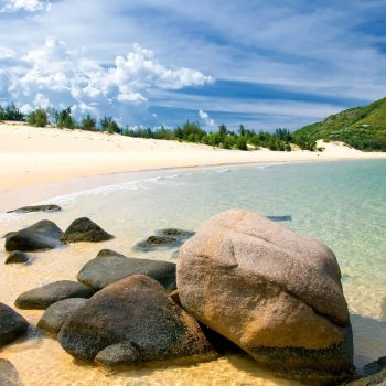 Exotic beach with white sand in Quy Nhon, Vietnam