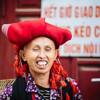 Happy Red Dao tribe woman smiling in Sapa